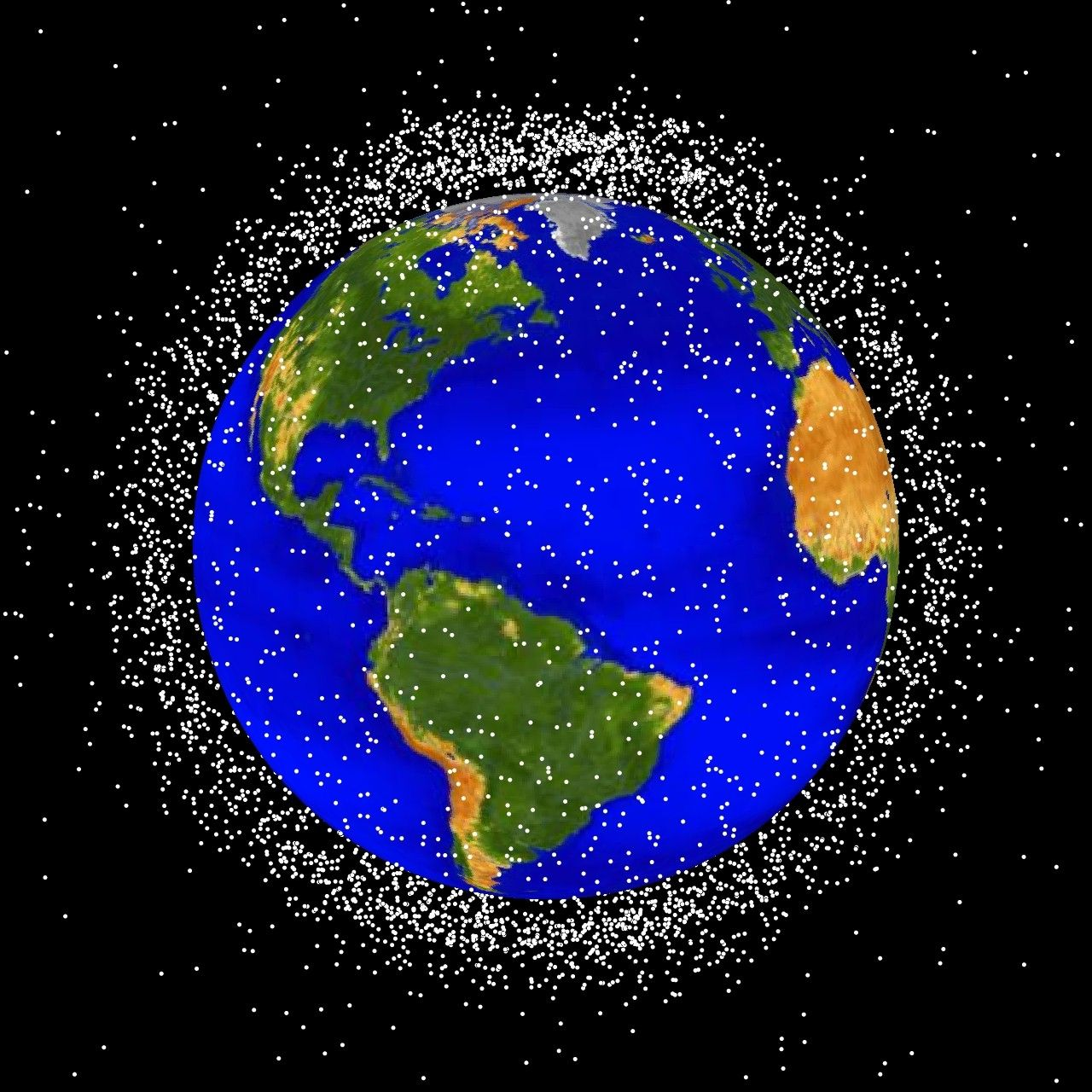 Question why in the image are the space debris objects clustered